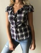 Koszula w fioletową kratę Orsay żabot taliowana...