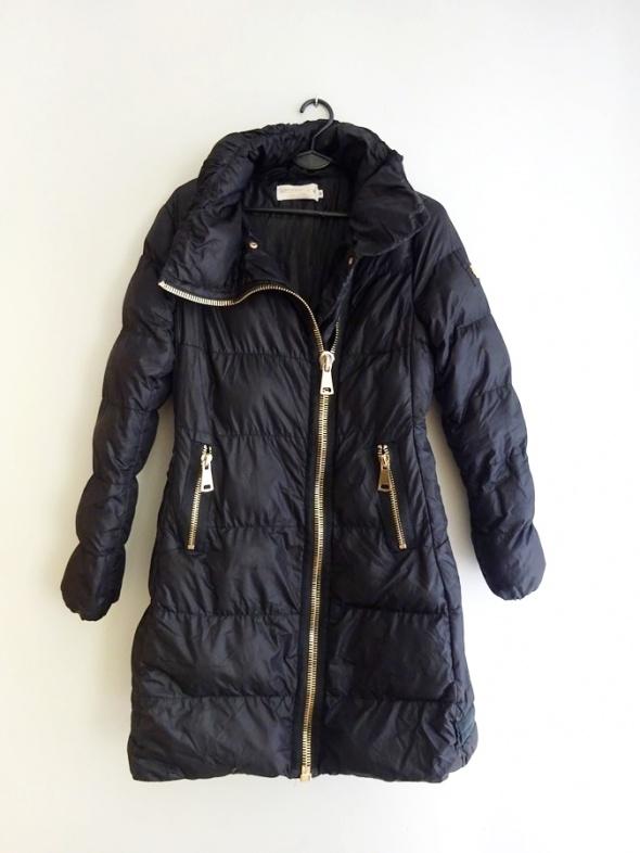 gruba zimowa kurtka czarna CIEPŁA puchowa zip 38 M