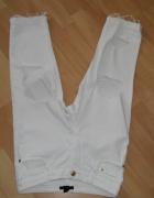 Damskie jeansyrybaczki wysoki stan białe H&M S...