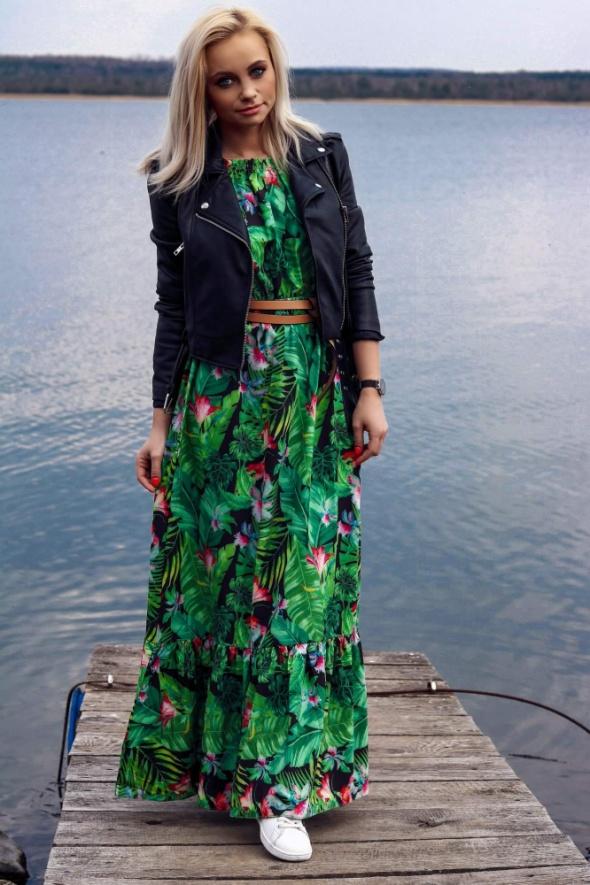 zielona liście kwiaty maxi długa uni sexy hiszpanka sukienka ra...