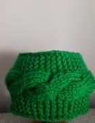 Opaska wełniana ręcznie robiona zielona...