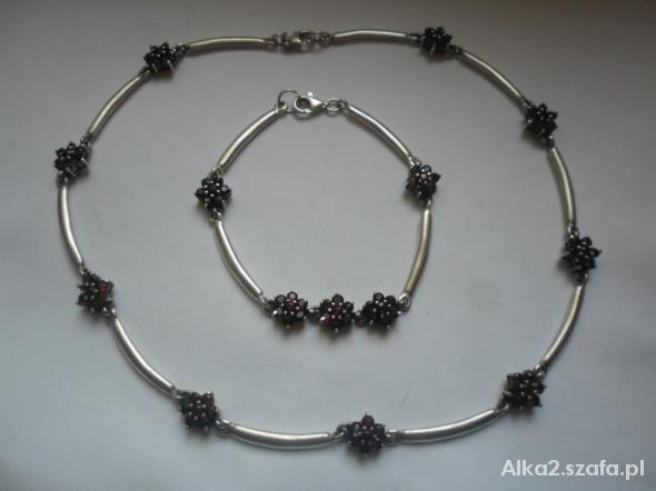 Elegancki zestaw biżuterii srebro z granatami 41 g...