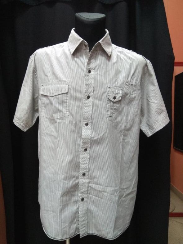 Koszule Koszula męska biała czarne paski REFREE XXL