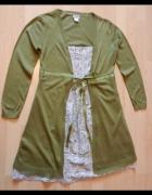 Sweter sukienka tunika zielona 40 42 Rainbow...