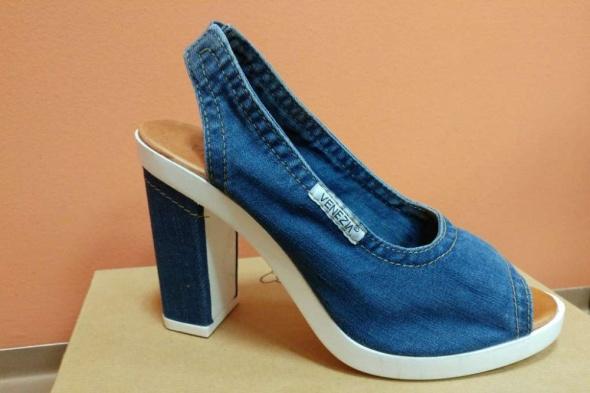 Sandały jeans słupek Venezia 39...