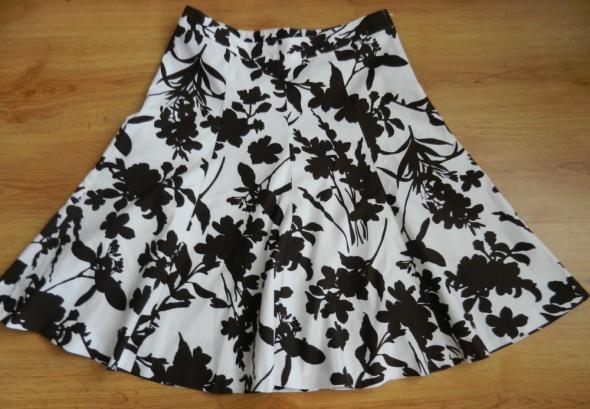 Spódnice Spódnica wzór kwiaty biało brązowa H&M L 40