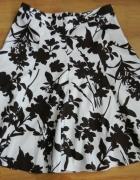 Spódnica wzór kwiaty biało brązowa H&M L 40...