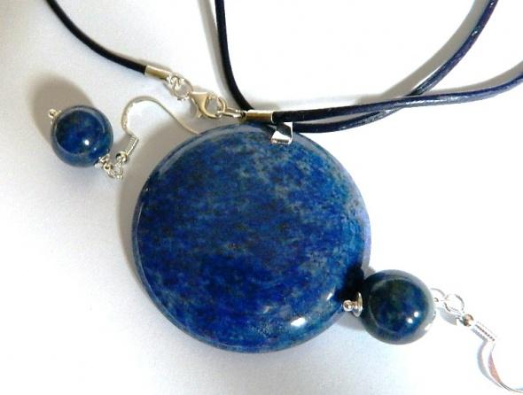 Lapis lazuli piękny zestaw biżuterii srebro...
