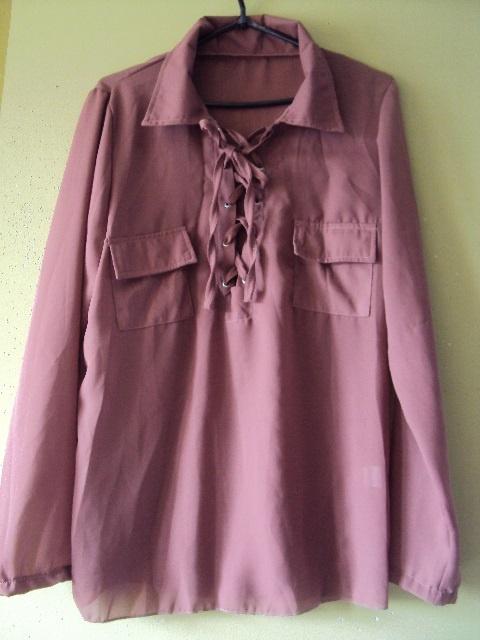 musztardowa sznurowana bluzka