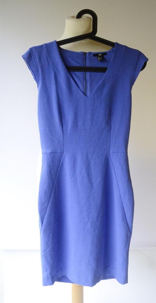 Sukienka Kobaltowa H&M XS 34 Elegancka Wizytowa Sexy...