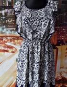 f&f sukienka zwiewna mgiełka wzory 40 L...