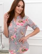 nowa koszula bluzka la blanche szara kwiaty sexy złote guziki 3...