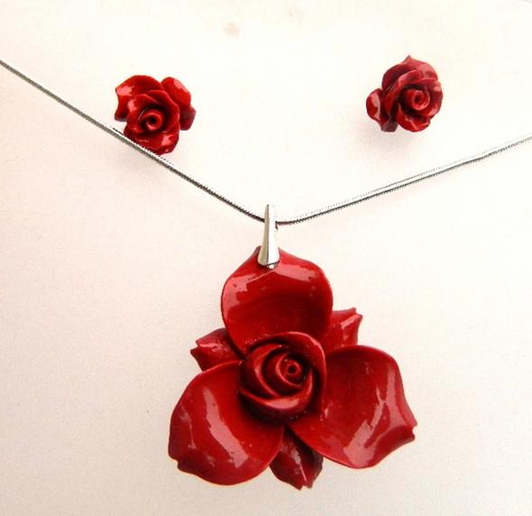 Czerwony koral i srebro zestaw biżuterii...