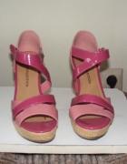 Sandałki koturn róż burgund...