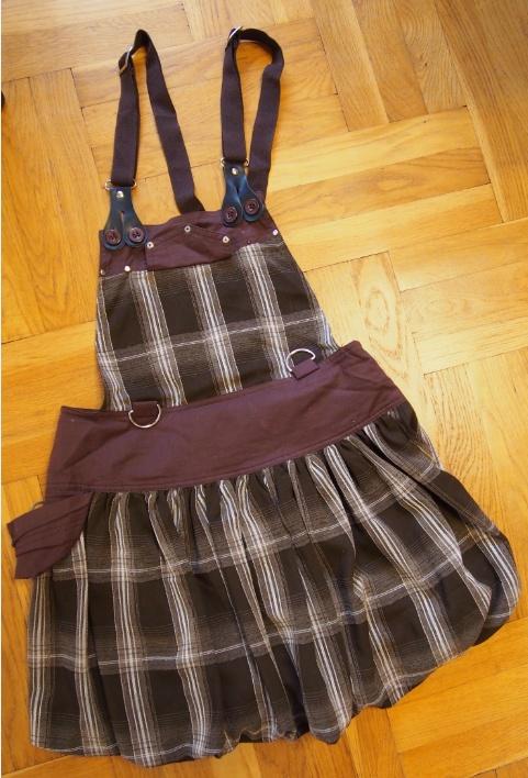 Spódnice Brązowa spódnica z szelkami