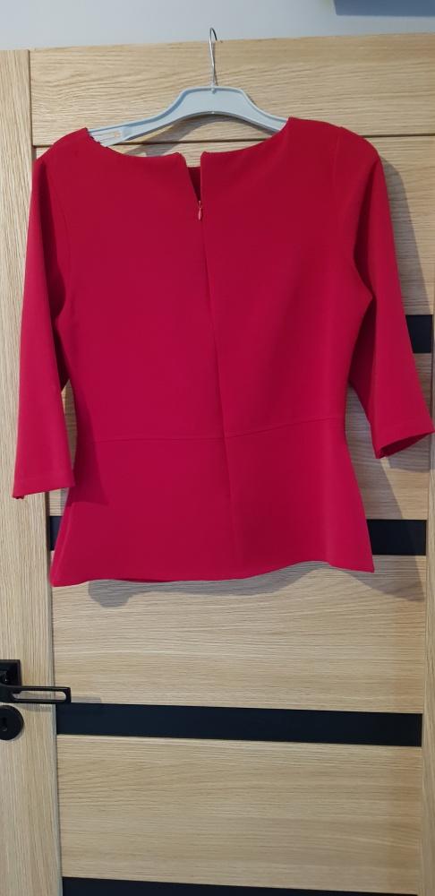 Elegancka czerwona wizytowa bluzka na ekspres...