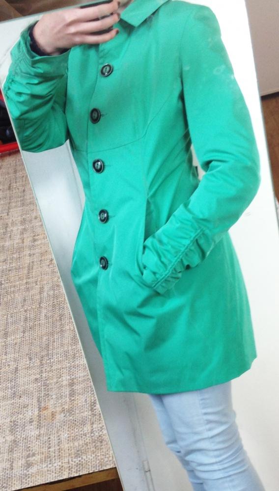 Płaszcz tencz zielony taliowany jesienny elegancki z kieszeniam...
