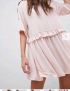 Sukienka oversize Asos pudrowy róż...
