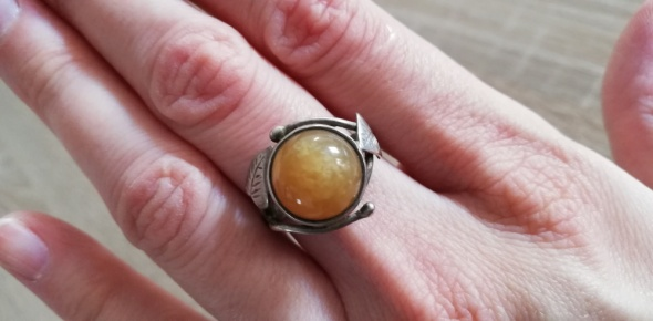 Słoneczny warmet z listkami stary srebrny pierścionek...