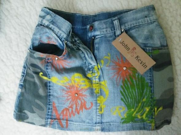 Sukienki i spódniczki Spódniczka kolorowa jeans  malowane kwiaty