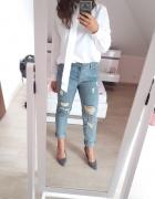 Spodnie boyfriend esmara S dziury przetarcia high waist...
