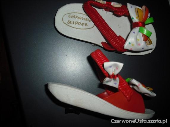 kokardki dzieciece sandaly klapki czerwone uniseks...
