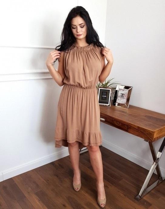 sexy zwiewna sukienka asymetryczna uni beżowa camel mini...