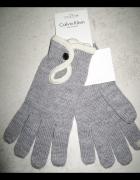 CALVIN KLEIN szare rękawiczki damskie...