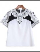 bluzka koronkowa żorżeta szyfon ażur 36 S biało czarna...