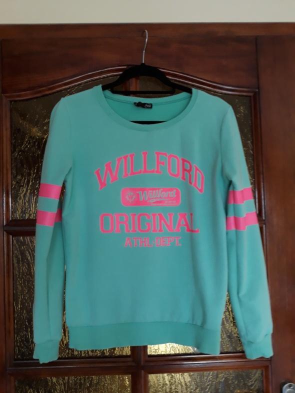 Miętowa bluza z różowym printem S M...