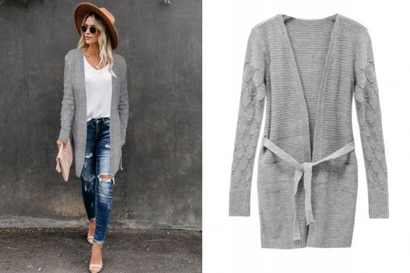 Sweter kardigan narzutka z paskiem i kieszeniami rozmiar SM