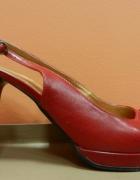 Czerwone skórzane sandały szpilki 39 skóra...
