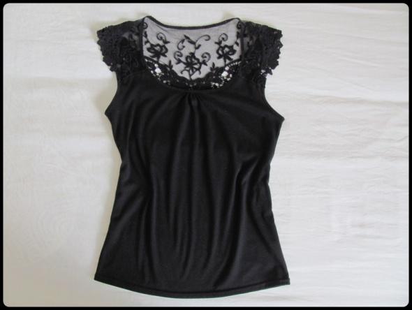 Czarna bluzka koszula z koronką i gipiurą rozmiar 38 M