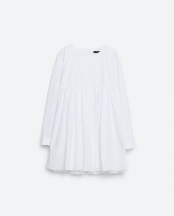 ZARA biały kombinezon sukienka z popeliny guziki na plecach