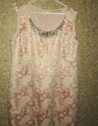 Różowa elegancka błyszcząca sukienka ołówkowa midi 46...