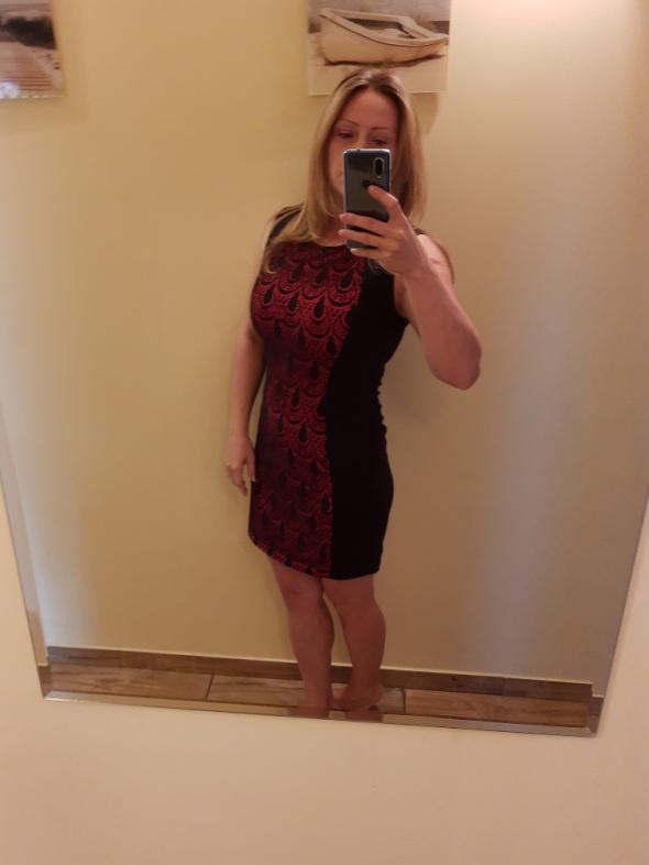 Sukienka koronka czarno czerwona 40 42...