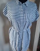 Długa koszula sukienka tunika w paski...
