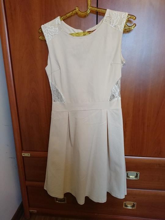 Kremowa koronkowa sukienka rozmiar L