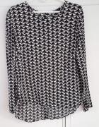 Nowa bluzka H&M 40 L czarno biała wzór koty lopardy pumy puma l...