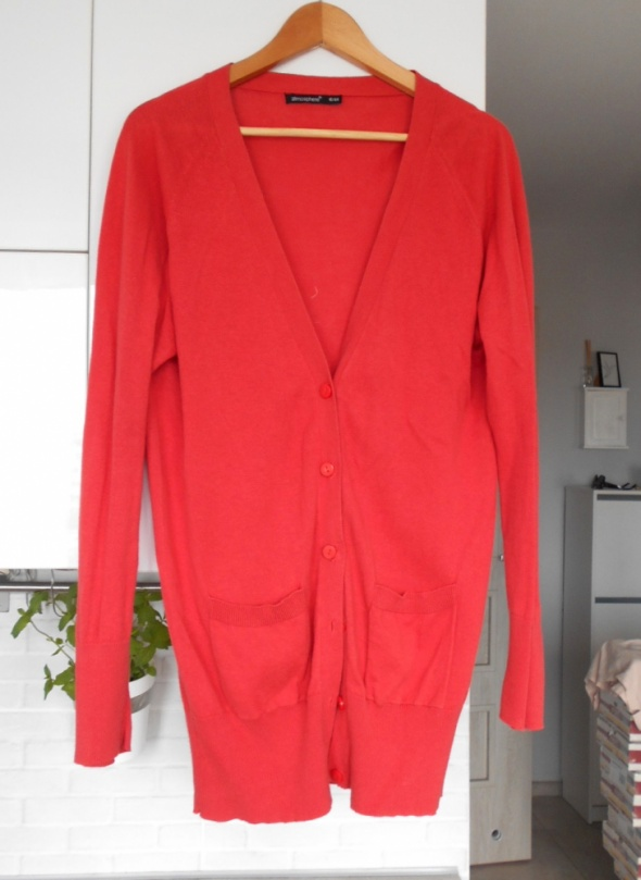 Swetry Atmosphere pomarańczowy długi kardigan sweter guziki