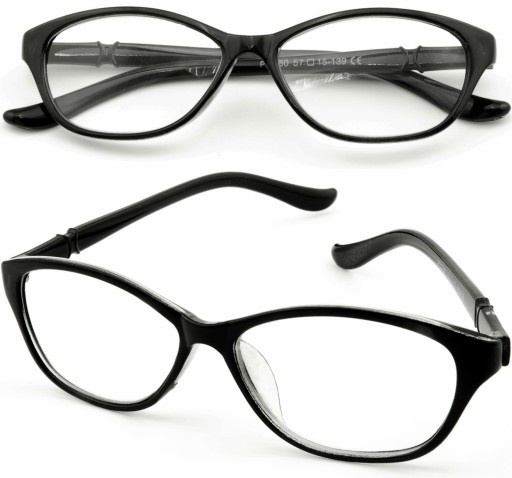 okulary korekcyjne plusy plus 3 czarne kocie