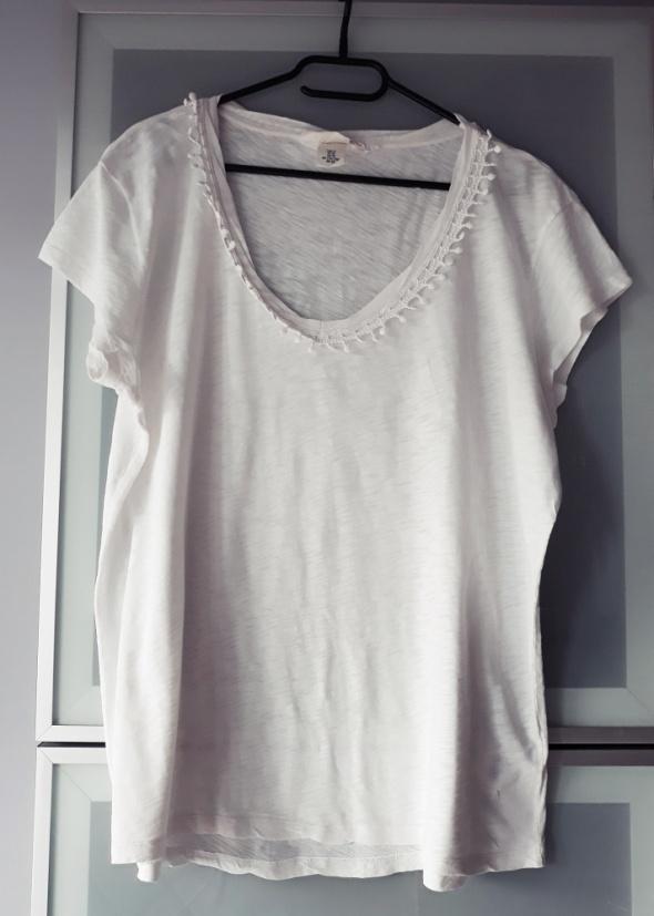 Biała zdobiona bluzka H&M rozmiar XL