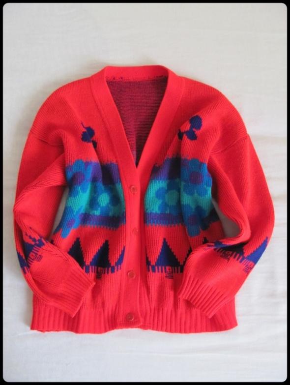 Swetry Sweter czerwony kolorowy VINTAGE rozmiar 40 L