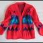 Sweter czerwony kolorowy VINTAGE rozmiar 40 L