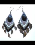 kolczyki orientalne azteckie złote czarne listki...