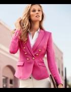 H&M różowa marynarka ze złotymi guzikami w stylu BALMAIN XS...