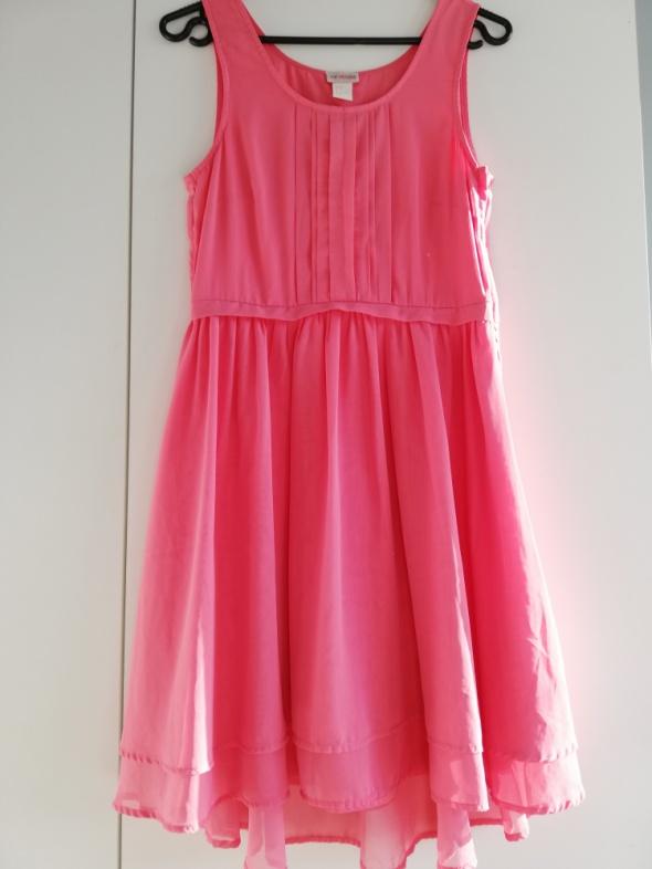 H&M Conscious Collection szyfonowa koralowa sukienka asymetrycz...