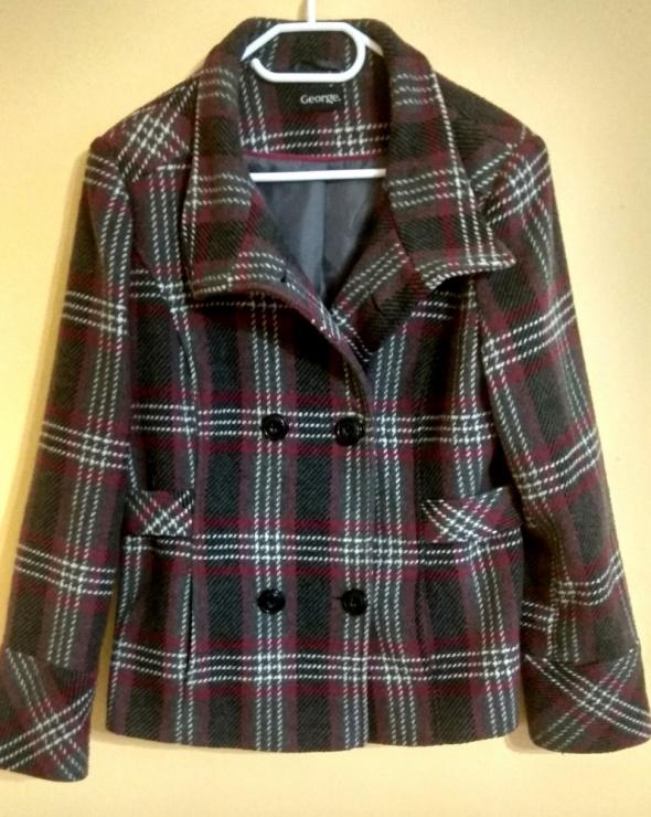 kurtka płaszcz jesienna zimowa George 44 dwurzędowy szary róż