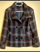 kurtka płaszcz jesienna zimowa George 44 dwurzędowy szary róż...
