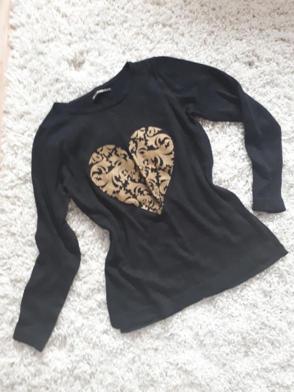 sweter bluzka złoty print czarna brokat...